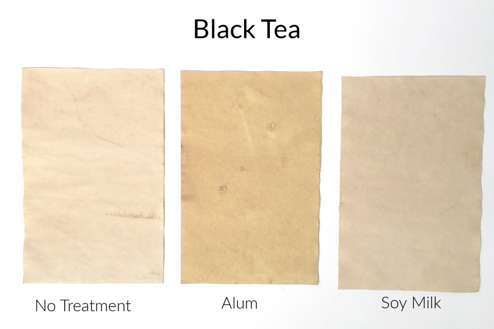 Papers stained with black tea