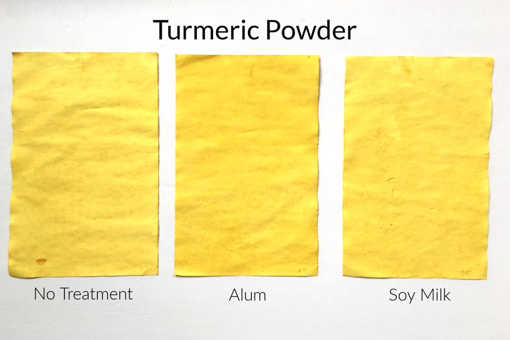 Paper stained with turmeric spice powder