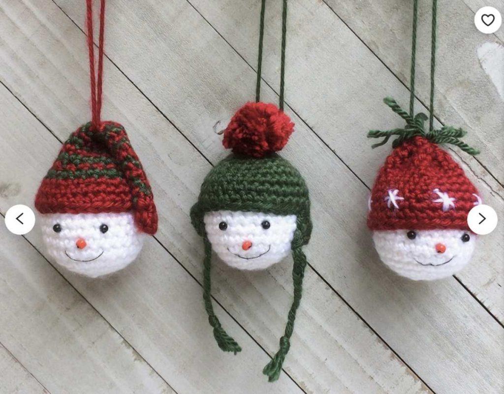 Crochet Patterns for Snowman Ornaments