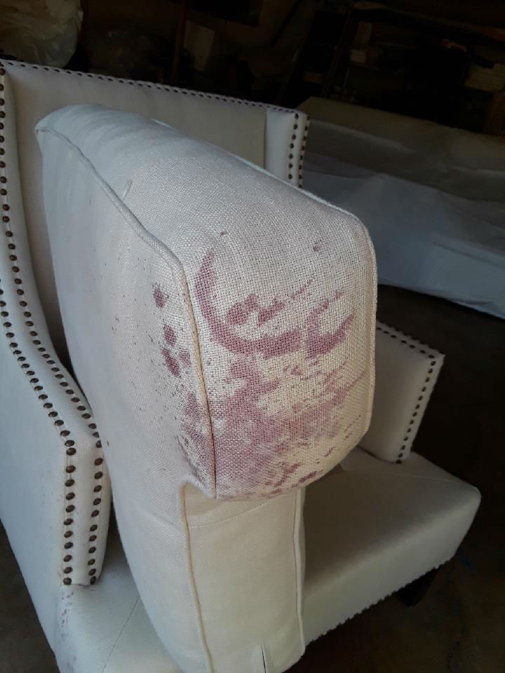 Cleaning Red Wine all over White Linen Chair