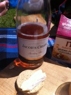 pink bubbles and cheese and biscuits