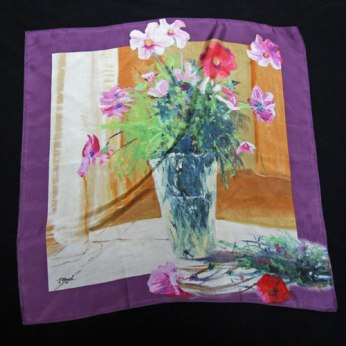 Carré de soie reproduction de tableau Pier Buyle bouquet de cosmos