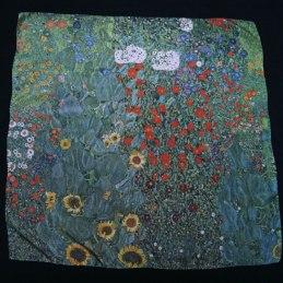 Large Klimt silk scarf Garden with sunflowers - Fibra Creativa