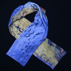 Men's silk scarf Van Gogh - Wheat field with crows
