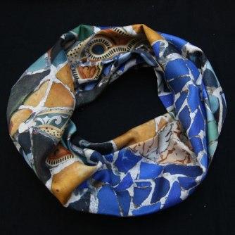 Fular circular de seda twill impreso a medida mosaico trencadis