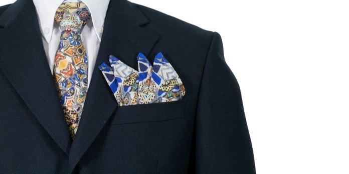 Cravate et pochette de costume pour homme en soie imprimé personnalisé - Fibra Creativa
