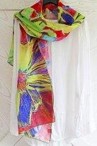 Florence Hirth foulard de soie Lyrio Cosmos