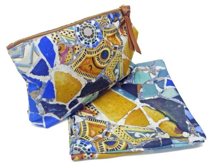 Pochette et snood en soie Gaudí