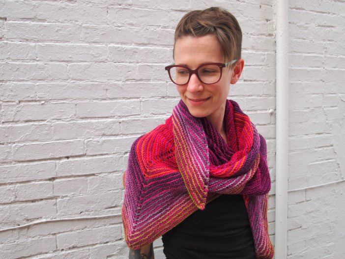 Knockout Round! It's a big shawl you knit while doing other compelling things.