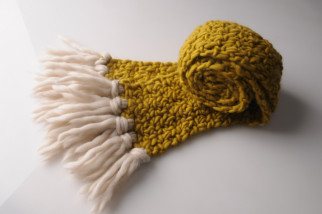 Mrs. Moon's First Scarf uses two skeins of Plump Superchunky for the crocheted body of the scarf. If you want tassels (which, yes), snag a third and go for a contrast color!
