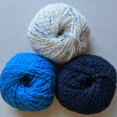 Dream Merino Worsted in Blue Lagoon Tweed, Moody Blues, and Midnight