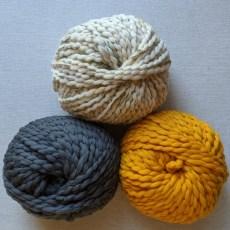 Merino No. 5 in Stardust Tweed, Dorian Gray, and Mustard