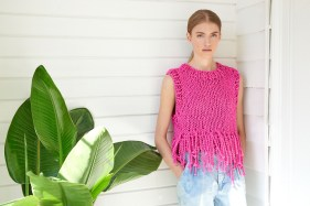 Tank Top with Fringe in Loopy Mango Big Cotton