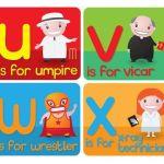 abecedario en inglés letras u, v, w, x