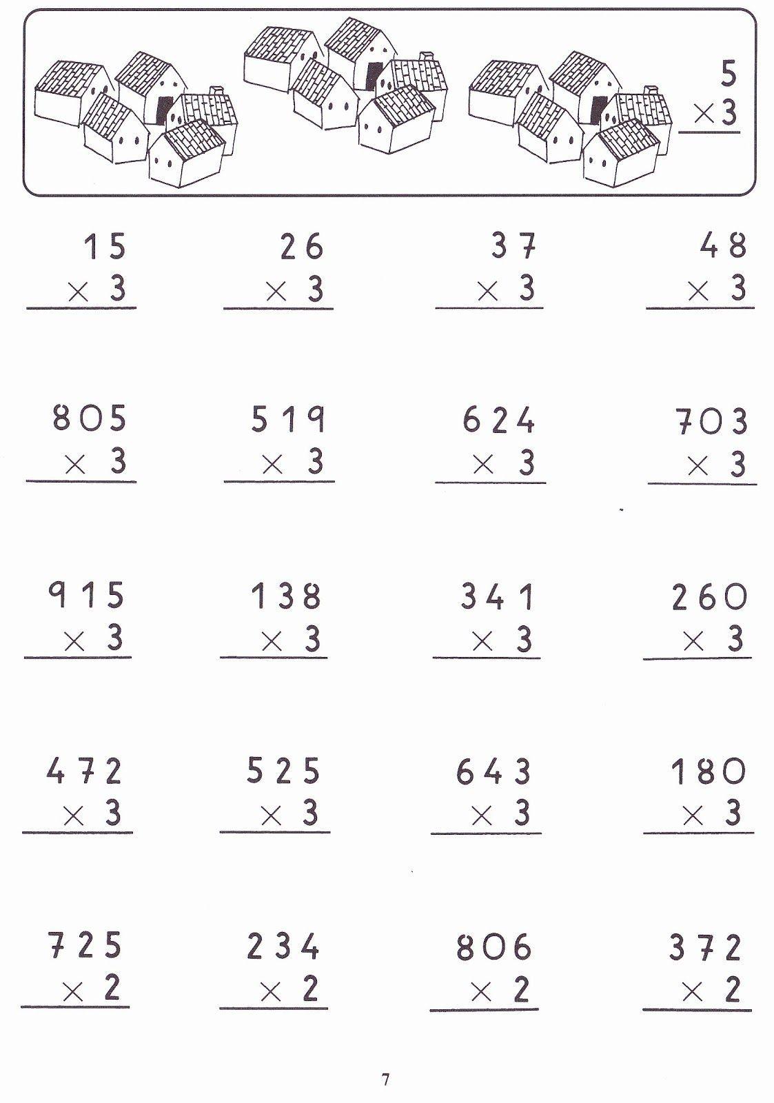 Multiplicaciones por una cifra | Fichas de primaria