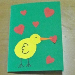 tarjeta con patito pintado