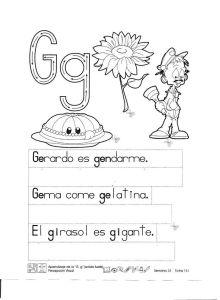 fichas de aprendizaje de la letra g