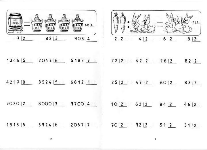 Cifras Desenhos ~ Divisiones por una cifra para imprimir Fichas de primaria