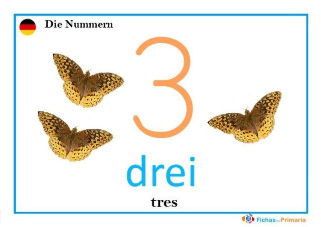 el número tres en alemán: drei