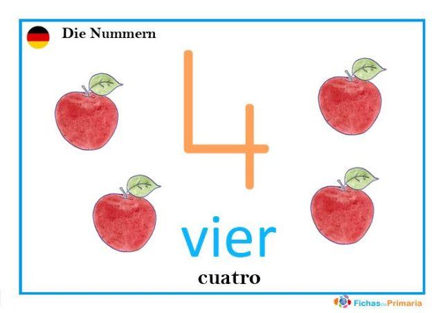 fichas infantiles de los números en alemán: vier