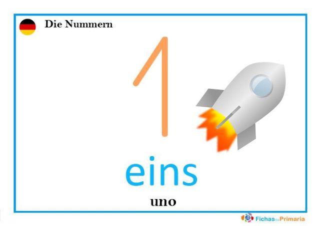 fichas de los números en alemán eins