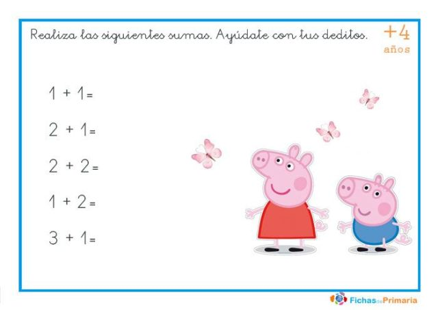 sumas fáciles para niños de preescolar