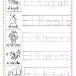 ejercicios caligrafía letra k