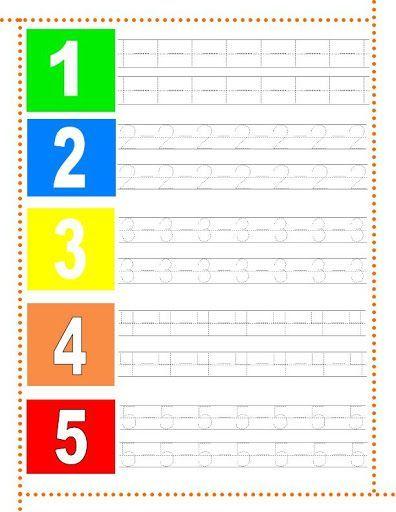 Caligrafía números 1-5