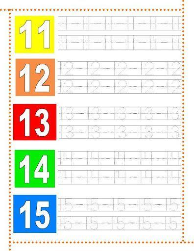 Caligrafía números del 11 al 15