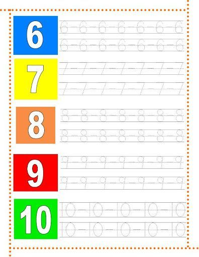 Caligrafía números del 6 al 10