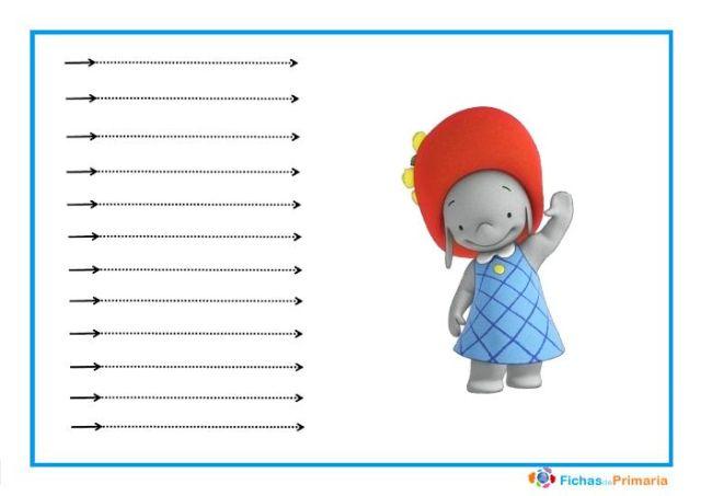 trazos horizontales para niños de 3 años