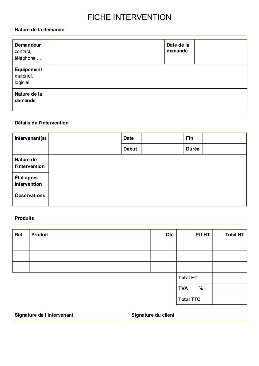 Modèle de rapport d'intervention informatique