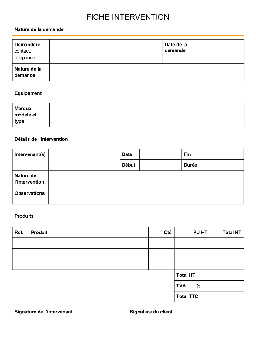 Modèle de rapport d'intervention maintenance