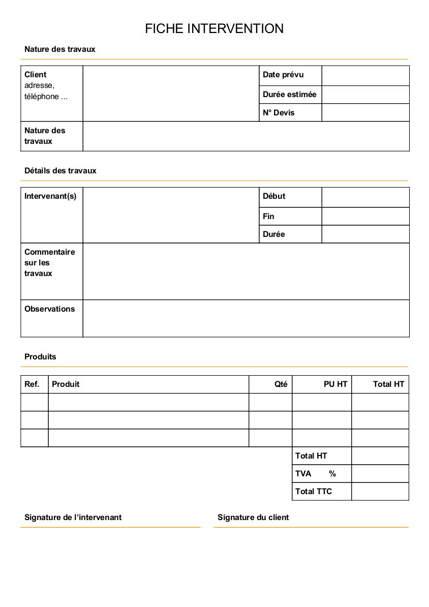 Modèle de rapport d'intervention travaux