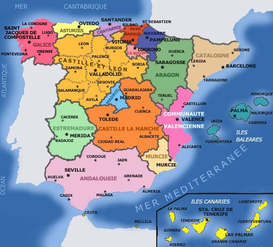Les Regions D Espagne Bienvenido A Espana