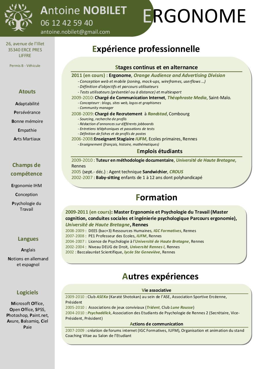 Cv Nobilet Ergonome Par Ixchel Delaunay Fichier PDF