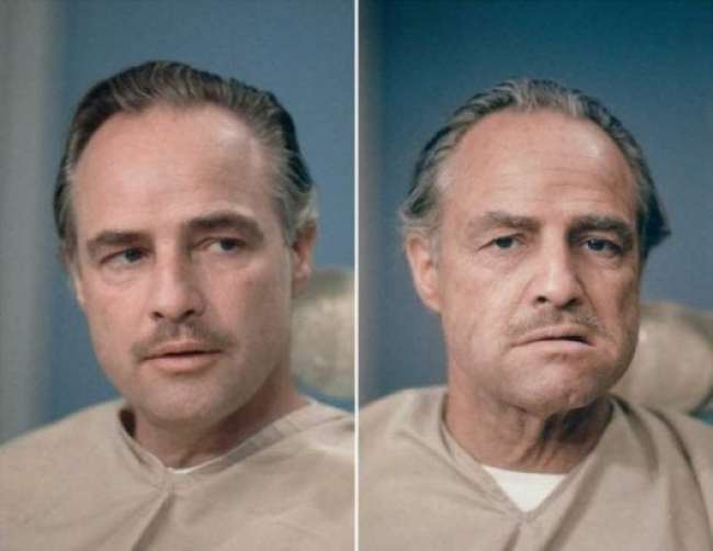 Marlon Brando before and after makeup for the film The Godfather