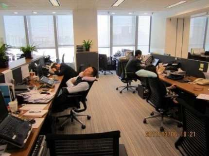 6. Falling asleep at work is considered as a good practice