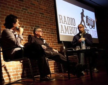 Daniel Alarcón, Francisco Goldman, and Junot Díaz (photo courtesy of Radio Ambulante)