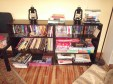 The living room shelves. Oddly-sized books usually get delegated here, as well as 'coffee table' books.