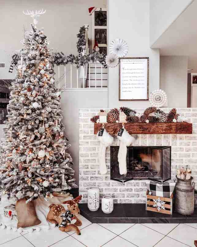 diy faux brick fireplace decorated for christmas
