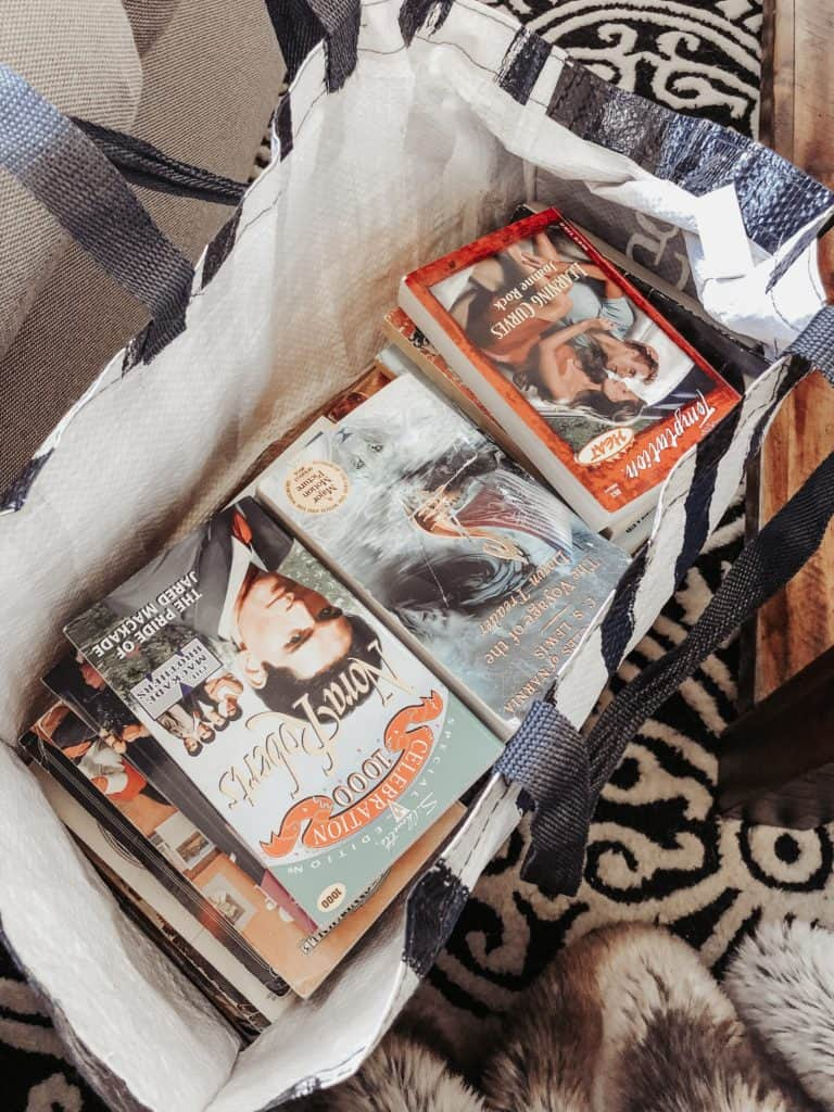 thrift store books in a bag