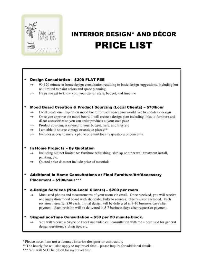 fiddle leaf interiors design services price list