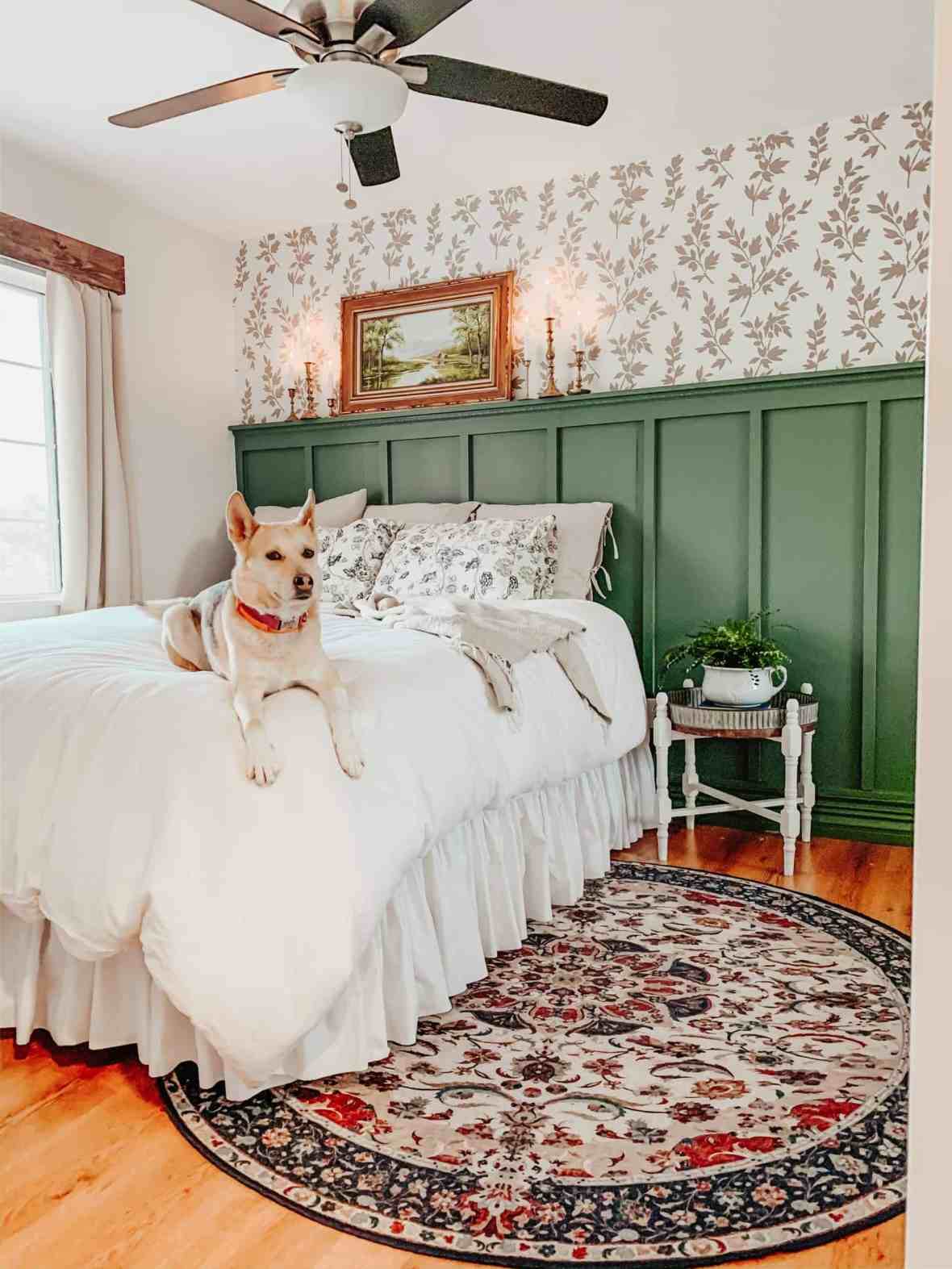 vintage farmhouse bedroom with green board and batten