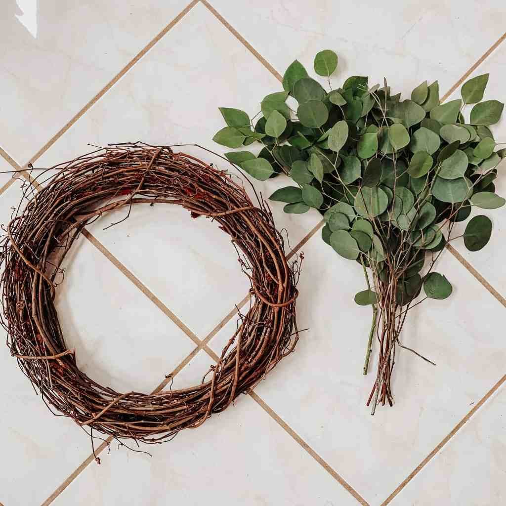 grapevine wreath and eucalyptus