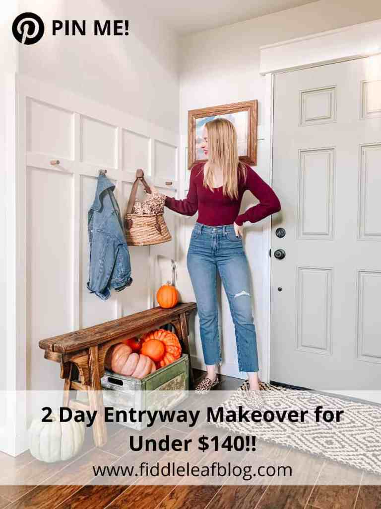 2 day budget farmhouse entryway makeover for under $140