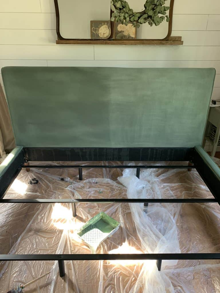 painting fabric bed frame with annie sloan chalk paint