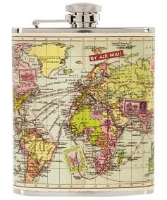 Map Print Hip Flask