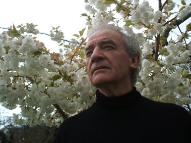 Seamus Deane photographed in front of cherry blossoms.