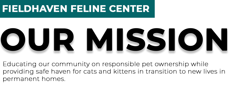 Our mission: Educating our community on responsible pet ownership while providing safe haven for cats and kittens in transition to new lives in permanent homes.